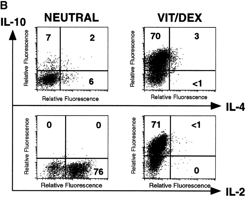 VitD3/Dex induces the development of T cells producing IL-10 only and no inflammatory cytokines upon neutralization of Th1 and Th2 polarizing cytokines. (A) Purified OVA-specific naive CD4 + T cells were activated under the same conditions as in Fig. 1 ; except that neutralizing anti–IL-12, anti–IFN-γ, and anti–IL-4 mAbs were also added. After three rounds of stimulation, cells were characterized for cytokine production by intracellular flow cytometric analysis. Identical results were obtained when T cells were isolated from DO11.10 RAG −/− . Representative results of more than five experiments are shown. (B) Purified naive CD4 + T cells from DO11.10 RAG −/− mice were activated using anti-CD3 and anti-CD28 stimulation under neutral or VitD3/Dex conditions. After three rounds of stimulation, cells were characterized for cytokine production by intracellular flow cytometric analysis. Identical results were obtained using DO11.10 or BALB/c mice. Representative results of three experiments are shown.