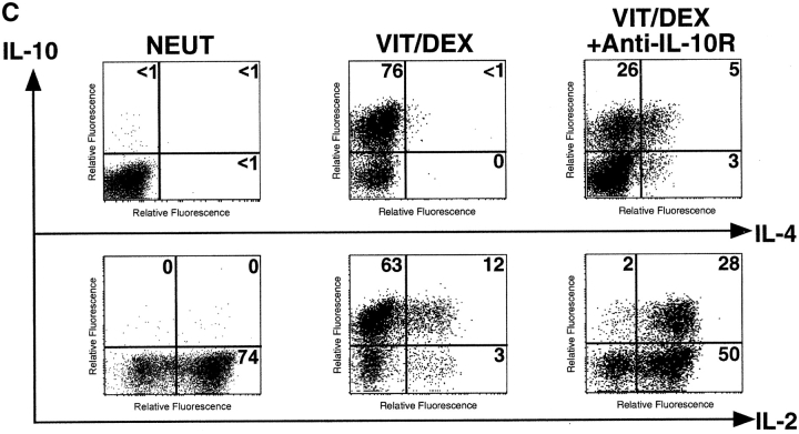 IL-10 is a positive autocrine factor to enhance the development of IL-10–producing T cells induced by Vit/Dex. (A) Cells were activated as in Fig. 2 in the combination of Vit/Dex, plus neutralizing anti–IL-12, anti–IFN-γ, and anti–IL-4 mAbs in the absence or presence of either anti–IL-10R (10 μg/ml) or anti–TGF-β (10 μg/ml). Additionally, T cells were stimulated using anti-CD3 and anti-CD28 with Vit/Dex in the absence (B) or presence of neutralizing anti–IFN-γ and anti–IL-4 mAbs (C), in the presence or absence of anti–IL-10R mAbs. After three rounds of stimulation, cells were characterized for cytokine production by intracellular flow cytometric analysis. Representative results of five experiments are shown.