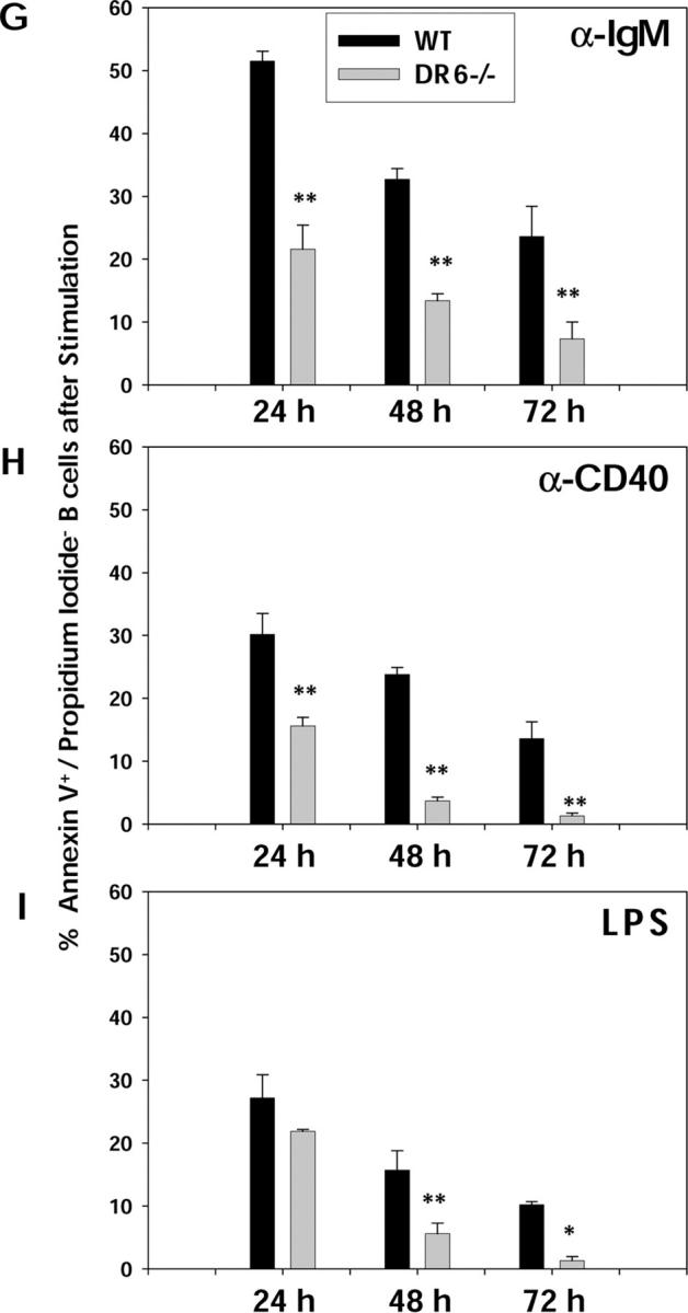 Effect of DR6 deficiency on B cell proliferation, cell division, and survival. B cells isolated from spleens of 8–10-wk-old DR6-deficient (DR6 −/− ) and WT littermate control mice were stimulated with 20 μg/ml anti-IgM (A), 10 μg/ml anti-CD40 (B), or 5 μg/ml LPS (C) as described in Materials and Methods. Cells were cultured in triplicates in 96-well plates for 72 h and B cell proliferation was measured by [ 3 H]thymidine incorporation during the final 12 h of culture. Values shown represent the mean and error bars represent the SD. *, P