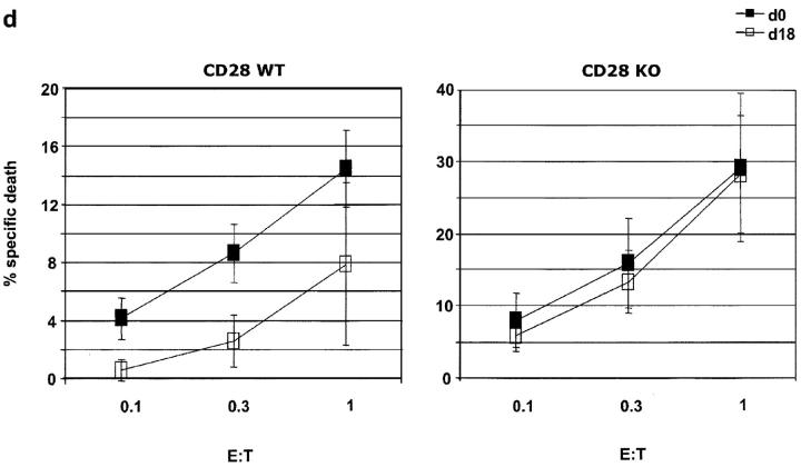 (a) H-Y–specific T cells recovered from CD28WT d18 pregnants exhibit decrease proliferation to H-Y peptide. 4 × 10 5 CFSE-labeled spleen cells from either nonpregnant or d18 pregnant H-Y CD28WT mice were cultured with 0.1 nM peptide for 72 h. T cells from pregnancies with mixed litters were compared with pregnancies with only females in the litter. (b) H-Y–specific T cells recovered from CD28KO pregnants do not exhibit decreased proliferation to H-Y peptide or male APCs. 4 × 10 5 CFSE-labeled spleen cells from either nonpregnant or d18 pregnant H-Y CD28WT or KO mice were cultured with 0.1 nM peptide for 72 h. Proliferation was assessed by dye dilution after gating on T3.70 + Annexin V − cells (nonpregnant, n = 28; d18, n = 6; d18 females only, n = 3; CD28KO nonpregnant, n = 16; CD28WT d18, n = 12). (c) Fewer H-Y–specific T cells recovered from CD28KO pregnants secrete IFN-γ. 4 × 10 5 spleen cells from CD28WT or CD28KO H-Y mice were cultured in the presence of 1,000 nM or 1 nM peptide for 72 h, then harvested and cultured for an additional 6 h in the presence of GolgiStop, 200 ng/ml PMA, and 750 ng/ml ionomycin. Clonotypic T cells were analyzed for intracellular expression of IFN-γ. Similar results were obtained in experiments restimulating with peptide instead of PMA and ionomycin. (d) H-Y–specific T cells from CD28KO d18 pregnants do not exhibit decreased CTL activity. 4 × 10 6 CFSE-labeled spleen cells from CD28WT or CD28KO H-Y mice were cultured with 1 μM peptide for 72 h, harvested, and cultured with EL-4 cells in the absence or presence of peptide for 4 h. EL-4 target cells were then analyzed for expression of Annexin V by flow cytometry. Results represent pooled data from multiple experiments (CD28WT nonpregnant, n = 9; CD28WT d18, n = 3; CD28KO nonpregnant, n = 6; CD28KO d18, n = 4).