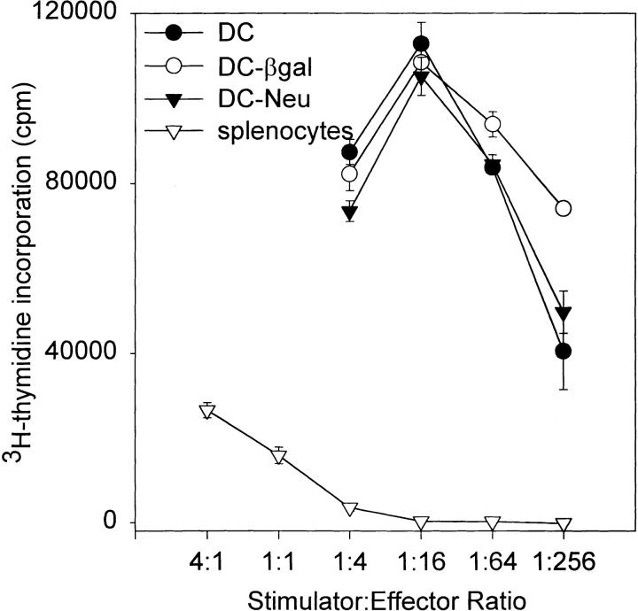 Allogeneic MLR of bone marrow–derived DCs and splenocytes. Bone marrow cells were transduced by coculture with retroviral producer lines, CreLacZ (DC–β-gal) and CreNeu (DC–Neu), and differentiated into DCs in vitro. DCs were cocultured with allogeneic, C57BL/6 T cells, isolated from bulk splenocytes by passing cells through an <t>immunoaffinity</t> column. After 3.5 d in culture, cells were pulsed with [ 3 H]thymidine as described in Materials and Methods. Results from triplicate wells were corrected for [ 3 H]thymidine incorporation by irradiated stimulators and T cells alone, and are plotted as the mean ± SEM.