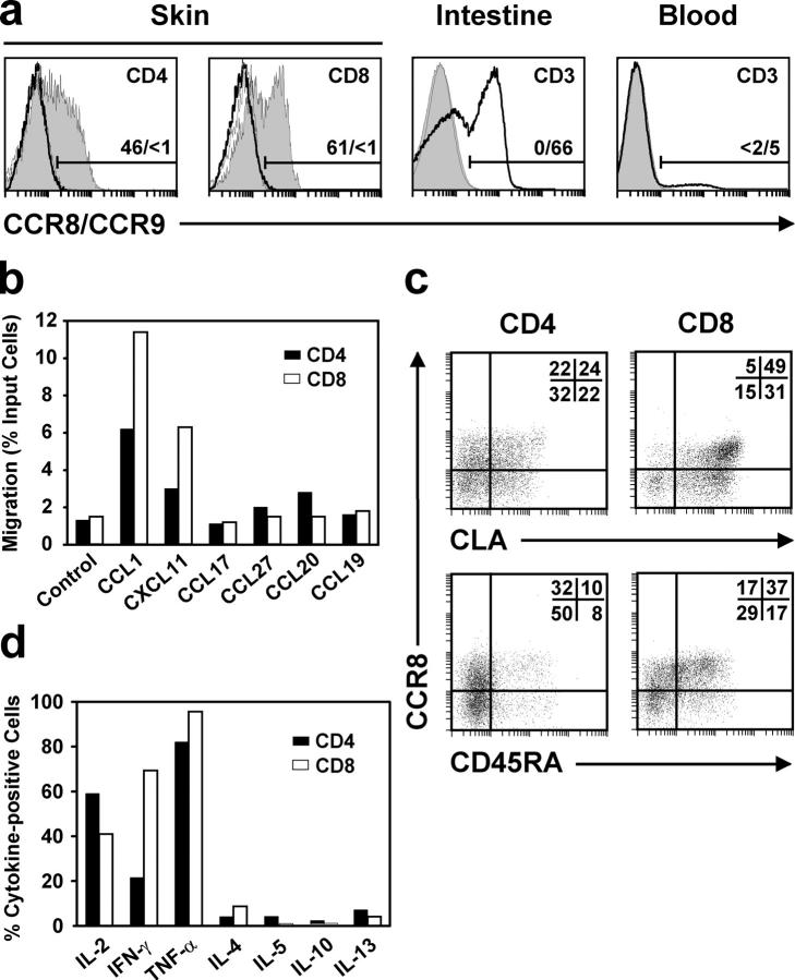CCR8 + T cells predominate in normal human skin. Analyses were performed with freshly isolated cells. (a) Flow cytometric detection of CCR8 (gray histograms) and CCR9 (bold line) in T cells isolated from human skin, lamina propria of small intestine, and peripheral blood. Peptide-blocked control for CCR8 staining is shown as a thin line. CD4, CD8, and CD3 denote the respective populations analyzed within the αβTCR + cell gate, and the numbers indicate percentages of CCR8- and CCR9-positive cells, respectively. Data for skin and intestinal cells are representative for nine and three donors, respectively. (b) Chemotactic migration of skin T cells, gated on CD4 + cells (black bars) and CD8 + (white bars), in response to chemokines as indicated. Values represent the percentage of migrated cells as a proportion of input cells, and control denotes the level of migration in the absence of chemokines. (c) Expression of CLA and CD45RA on CCR8 + skin T cells. Gates were set for CD4 + αβTCR + cells (CD4) and CD8 + αβTCR + cells (CD8), and the numbers refer to the percentage of cells within each quadrant. (d) Production of various cytokines by CD4 + (black bars) or CD8 + (white bars) CCR8 + αβTCR + skin T cells. Intracellular accumulation of cytokines in response to PMA/ionomycin was measured by flow cytometry and is expressed as percent cytokine-positive cells. Chemotaxis and cytokine production data are representative of four independent experiments.