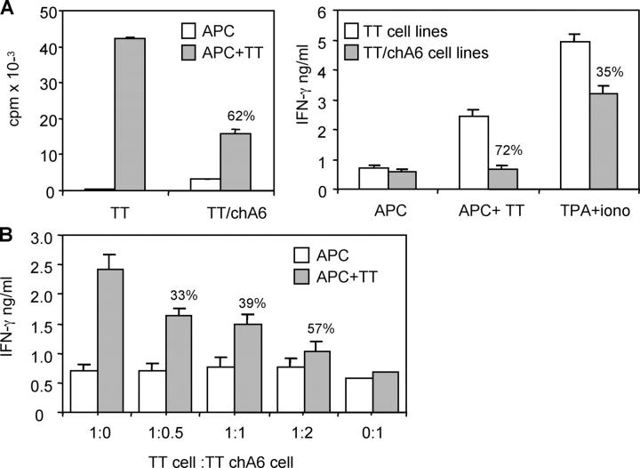 ChA6 mAb induced TT-specific CD4 + T reg cells. (A) Total PBMCs were stimulated with TT with or without chA6 mAb (10 μg/ml). TT-specific cell lines were rechallenged with TT-pulsed and nonpulsed autologous irradiated monocytes in the absence of chA6 mAb. Results from one representative donor out of 18 are shown. The percentage of inhibition of proliferation in the presence of chA6 mAb relative to control is presented. Alternative: after 48 h culture, IFN-γ was quantified in culture supernatants by ELISA. Results from one representative donor out of 10 are shown. The percentage of inhibition of IFN-γ release in the presence of chA6 mAb relative to control is shown. Iono, ionomycin; TPA, 12- 0 -tetradecanoylphorbol-13-acetate. (B). TT-specific cell lines were cocultured with increased amounts of TT-specific T cell lines generated in the presence of chA6 mAb (TT/chA6) and stimulated with TT-pulsed and nonpulsed autologous irradiated monocytes in the absence of chA6 mAb. After 48 h of culture, IFN-γ was quantified in culture supernatants by ELISA. Results from one representative donor out of four are shown. The percentages of inhibition of proliferation in the presence of chA6 mAb relative to control are presented.