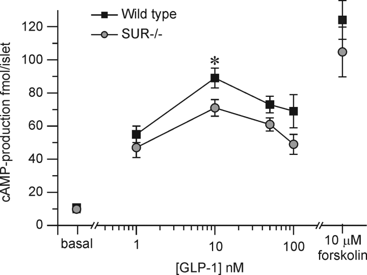 GLP-1–induced cAMP production in wild-type and SUR1 −/− B-cells. The amount of cAMP generated was measured in wild-type and SUR1 −/− B-cells as indicated at 0–100 nM GLP-1. Values observed in the presence of 10 μM forskolin have been included for comparison. Data are mean values ± SEM of six experiments in each group. All values in the presence of GLP-1 are statistically different from control value (P