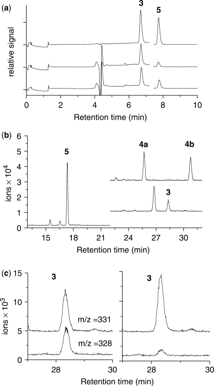Analyses of cytosine oxidation products. ( a ) <t>HPLC/EC</t> analysis of 5-hydroxycytosine ( 3) and 5-hydroxyuracil ( 5 ). Top chromatogram–standard compounds; middle chromatogram–freshly oxidized poly(dG-dC) subjected to acid hydrolysis; bottom chromatogram–heat treated oxidized poly(dG-dC) subjected to acid hydrolysis. Products 3 and 5 were detected by electrochemical detection with the oxidation potential at 75 mV and 350 mV, respectively. ( b ) GC/MS analysis of 5-hydroxycytosine ( 3) , 5-hydroxyuracil ( 5 ) and uracil glycols ( 4a and 4b ). The samples were prepared from polymers by either acid hydrolysis or incubation with Endo III followed by trimethylsilylation of the resulting <t>nucleobases.</t> The most abundant ion in the mass spectrum was chosen for selective ion monitoring (molecular ion −15 amu, unless indicated): 5-hydroxycytosine ( 3 , m/z 328); 5-hydroxyuracil ( 6 , m/z 329); trans uracil glycol ( 4a , m/z 245, ion fragment) and cis uracil glycol ( 4b , m/z 245, ion fragment). The peak at 27 min was an impurity. c) Quantitation of 5-hydroxycytosine ( 3 ), released from oxidized poly(dG-dC) by Endo III, was achieved by GC/MS analysis with selective ion monitoring. The amount of 5-hydroxycytosine was determined from the ratio of natural product released by Endo III to the corresponding isotopically labeled 5-hydroxycytosine (+3 amu), which was added before the addition of enzyme. The chromatogram depicts the excision of the 5-hydroxycytosine ( 3 ) from freshly oxidized poly(dG-dC) (left) and heat-treated polymer (right).