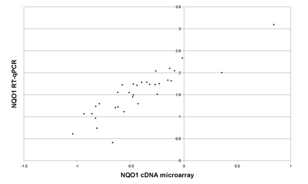 mRNA expression of NQO1 . Comparison of NQO1 mRNA expression data assessed bycDNA microarray (y-axis) and quantitative reverse transcriptase PCR (x-axis). Microarray data are shown as log 10 -transformed, normalized ratios; qPCR data are shown as the log 10 -transformed, normalized starting quantities of the mRNA.