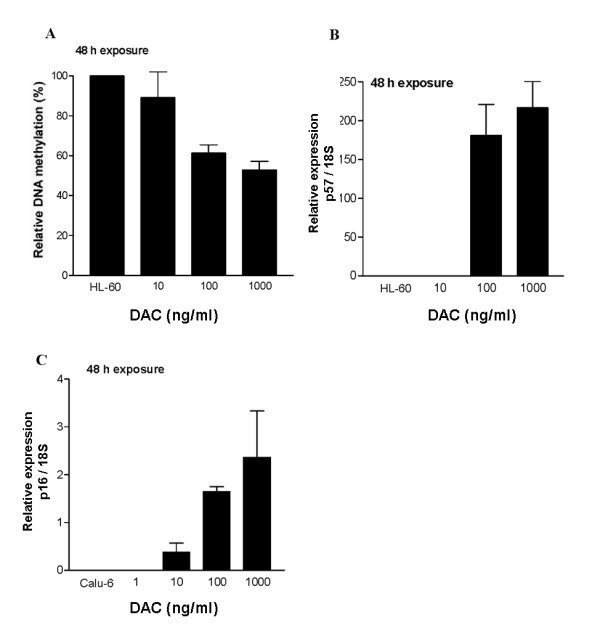 Effect of DAC concentration on <t>DNA</t> methylation and reactivation of p57 and p16 tumor suppressor genes . A), HL-60 cells were treated with the indicated concentrations of DAC for 48 h. Total DNA was isolated at 72 h and the LINE-1 element gene methylation status was analyzed by COBRA assay. B), HL-60 cells were treated with the indicated concentrations of DAC for 48 h and total RNA was isolated at 72 h. Gene expression of 18 S ribosomal RNA gene and p57 were analyzed by <t>RT-PCR.</t> The amount of DNA amplified during the exponential phase of PCR was analyzed by quantification of amplified DNA by an Agilent 2100 Bioanalyzer. The control cells are HL-60 with no drug treatment. Control vs DAC 100 ng/ml or 1,000 ng/ml p