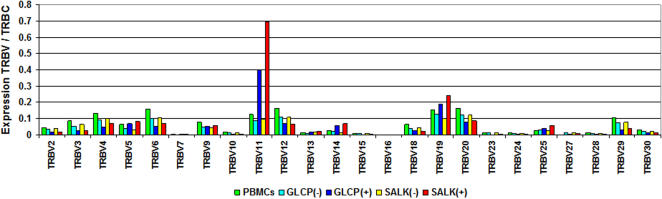 TRBV expression of B19V NS1-specific T-cells. Bars indicate the TRBV expression normalized to TRBC in non-selected PBMCs compared with positively and negatively selected GLCP and SALK reactive T-cells which were enriched using the IFNγ secretion assay.