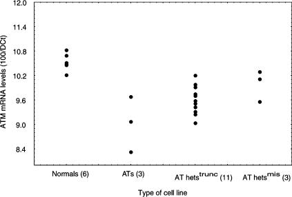 ATM-mRNA level in the six normal, three AT (AT6, AT11, AT14), 11 AT hets trunc and three AT hets mis LCLs. The mRNA level, expressed as the ratio 100/DCT, was obtained by TaqMan analysis and correction for RNA content using β -actin. Data points represent the mean value from at least three experiments for each of the cell lines studied ( n =number of lines in each group), except for AT6 and AT14, which were assayed twice.