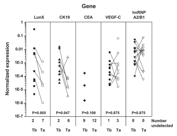 Expression of LunX mRNA in peripheral blood decreases shortly following the treatment of NSCLC . Peripheral blood samples from 12 NSCLC patients were collected 1 day before and 7 days after treatment as shown in Table 2. LunX, CK19, CEA, VEGF-C, hnRNP A2/B1 and β-actin mRNA were detected by real-time RT-PCR, and mRNA copy number was determined by reference to the standard curve, as described in methods.