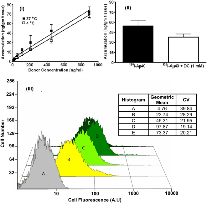 (I) Effect of donor concentration and temperature on the uptake of 125 I-Aβ40 in <t>wild</t> <t>type</t> <t>(WT)</t> <t>mouse</t> brain slices. (II) Effect of endocytotic inhibitor dansyl cadaverine on the uptake of 125 I-Aβ40 (450 ng/ml) in WT mouse brain slices. (III) Histograms of fluorescence intensity in differentiated PC12 cells exposed to various concentrations of F-Aβ40. (A) Untreated cells; (B) Cells incubated with 0.65 µM F-Aβ40; (C) Cells incubated with 1.3 µM F-Aβ40; (D) Cells incubated with 3.2 µM F-Aβ40; (E) Cells incubated with 3.2 µM F-Aβ40+32 µM unlabeled Aβ40.