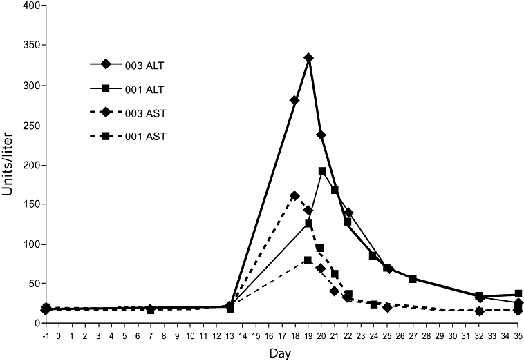 Alanine aminotransferase (ALT) and aspartate aminotransferase (AST) levels for two participants in study arm 1 who developed significant (grades 2 and 3) elevations in ALT following concomitant dosing of rifampin (600 mg once daily) with saquinavir/ritonavir (1000/100 mg twice daily). Participants took saquinavir/ritonavir alone for days 1 to 14. Falling levels are postdiscontinuation. Numbers indicated are participant identifiers.