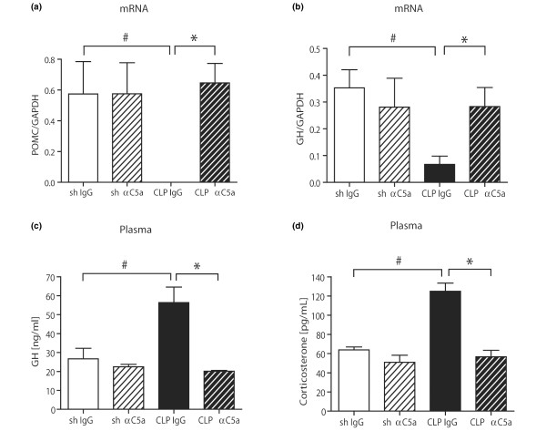 Evaluation of pituitary function after caecal ligation and puncture (CLP). Pituitary tissue samples were removed from four to five mice, snap-frozen, homogenised in Trizol and total RNA was extracted. Assessment of mRNA expression of (a) proopiomelanocortin (POMC) and (b) growth hormone (GH) 24 hours after CLP or sham operation by real-time PCR. Whole blood samples were drawn at given time-points by puncture of the inferior vena cava, plasma was obtained by centrifugation and subjected to ELISA analysis. Samples were assessed for (c) GH or (d) corticosterone under identical conditions. For all graphs, there were five to seven samples per experimental condition. GAPDH = glyceraldehyde 3-phosphate dehydrogenase. # p