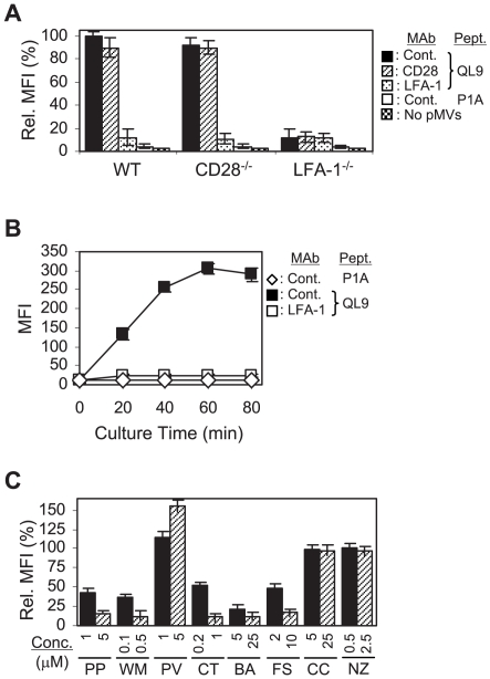 Importance of intracellular signaling cascades in the pMV-absorption. (A) Wild type (WT), CD28 −/− , and LFA-1 −/− 2C T cells, pre- treated with the respective mAbs, were cultured with or without the peptide-loaded L d B7-1ICAM-1 pMVs, as indicated, followed by mAb staining for B7-1 and flow cytometric analysis. Mean fluorescence intensities (MFIs) of B7-1 staining relative to that of WT 2C T cells, pre-treated with control mAb and cultured with the QL9-loaded pMVs, were plotted. Note that P1A peptide forms complex with L d but L d /P1A complex is not recognized by 2C TCR [8] . (B) WT 2C T cells, pre-treated with the respective mAbs, were cultured with the peptide-loaded pMVs for different periods of time, as indicated, and stained for B7-1. (C) WT 2C T cells were treated with PP2 (PP), Wortmannin (WM), Pervanadate (PV), Cytochalasin D (CT), BAPTA/AM (BA), Forskolin (FS), Cyclosporin A (CC) and Nocodazole (NZ), respectively, as indicated, before culture with the QL9-loaded pMVs. MFIs of the B7-1 staining relative to that of 2C T cells treated with DMSO alone were plotted.