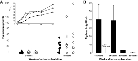 A : Porcine insulin levels in the serum of C57BL mice transplanted with E42 pancreas and treated with <t>costimulatory</t> blockade agents (anti-LFA1, anti-CD48, and ±CTLA4-Ig), FTY720, with (◇) or without (○) debulking, at different time points after transplantation. Treatment with costimulatory antibodies was stopped at 3 months posttransplant, and graft maintenance was continued twice weekly only with FTY720. Insulin levels in the serum of NOD-SCID mice transplanted with E42 pancreas served as a positive control (♦). The inset demonstrates average pig insulin levels in transplanted mice over a course of 6 months. No statistical difference could be found between the tested groups. B : Porcine insulin levels in the serum of C57BL mice transplanted with E42 pancreas and treated with costimulatory blockade agents with or without debulking at different time points after FTY720 withdrawal. Data are presented as means ± SE.