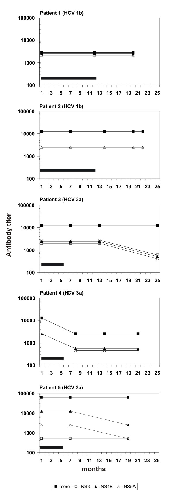 The persistence of anti-HCV antibody responses against individual HCV proteins . HCV antibody prevalence in five HCV RNA and antibody positive individuals infected with genotype 1b or 3a was analyzed from serum specimens obtained before and after IFN-α monotherapy (black bar). Relative anti-HCV antibody titers were determined by Western blot analysis as described in Fig. 2.