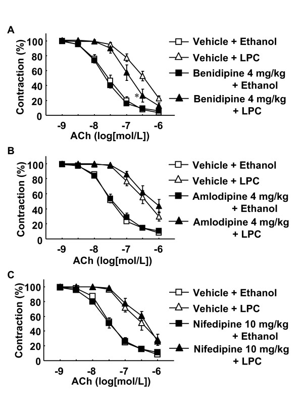 Effects of benidipine (A), amlodipine (B) and nifedipine (C) on LPC-induced attenuation of endothelium-dependent relaxation . Drugs were administered orally to rats. Rats were treated as described for Figure 1. Data are expressed as percentage of PE-induced contraction. Each value represents the mean ± S.E. of 6–10 experiments. *P