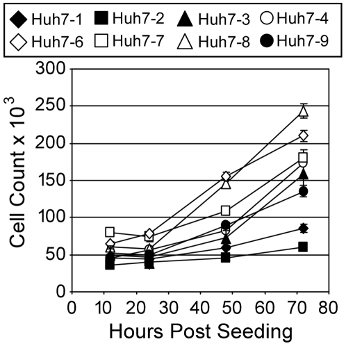 Growth kinetics of Huh7 cell lines. Cells were seeded at 5×10 4 cells/well in a 12-well plate. At indicated times post-seeding, cells were trypsinized and counted. Results are graphed as mean±sem of triplicates.