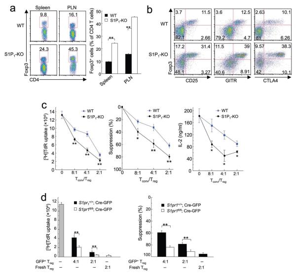 Enhanced peripheral population and suppressive activity of S1P 1 -KO T reg cells ( a ) Flow cytometry of gated CD4 T cells from the spleen and peripheral lymph nodes (PLN) of WT and S1P 1 -KO mice. The panel on the right shows the proportions of Foxp3 + T reg cells among total CD4 + T cell population, with the mean (+s.d.) calculated from 4 mice of each genotype. ( b ) Flow cytometry analysis of T reg markers (Foxp3, CD25, GITR and CTLA4) in PLN of WT and S1P 1 -KO mice. Data are representative of 2 independent experiments. Similar findings were observed in other peripheral lymphoid organs (not shown). ( c ) In vitro T-cell suppression assays using Foxp3 + CD4SP cells from WT and S1P 1 -KO mice. The left panel shows a representative proliferative assay of 4 independent experiments, the middle panel is the percentage of suppression with the mean (±s.d.) calculated from 4 experiments, and the right panel shows a representative of 2 independent experiments measuring IL-2 production. ( d ) In vitro T-cell suppression assays using S1P 1 -deleted peripheral T reg cells. Foxp3 + T reg cells from the periphery of S1pr1 +/+ and S1pr1 fl/fl mice were transduced with Cre-expressing retrovirus (Cre-GFP), and sorted GFP + T reg cells were used in the T-cell suppression assays with different T conv and T reg ratios; freshly isolated T reg cells were used as a comparison. The left panel is a representative of 3 independent experiments, and the right panel shows the percentage of suppression with the mean (+s.d.) calculated from 3 experiments. *, P