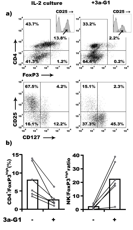 3a-G1 prevents IL-2 driven expansion of CD4 + /Foxp3 high regulatory T cells . a) Expanded CD4 + /CD25 + T cells among IL-2 treated PBMCs present characteristics of regulatory T cells, e.g. CD127 -/low and FoxP3 high . 3a-G1 interferes with the expansion of these cells. Markers analysed in upper quadrants are obtained after gating on lived cells based on Forward/Side scatter signal. Insert of CD25 staining is gated on FoxP3 + cells overlaid with isotypic control antibody staining. CD25/CD127 quadrant is gated on CD4 + T cells. Percentage of cells from parental gate is indicated in each quadrant. b) Increased ratio of NK:FoxP3 high T cells during 3a-G1 driven expansion of human NK cells from PBMCs.