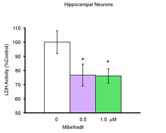 Neuronal protection by Mibefradil . Using cells from the hippocampi of E18 mice, neurons were cultured for 7-8 days with neurobasal medium with 2% FBS. On the 8 th day of culture, medium was replaced and cells treated with mibefradil in concentrations of 0 μM, 0.5 μM, and 1 μM (all groups, n = 12). Cell death was quantified using LDH assay 48 hours after treatment. Raw data was used for one-way ANOVA. When the data was expressed as % of control. *p ≤ 0.05 compared to the control was significant using student's t test.