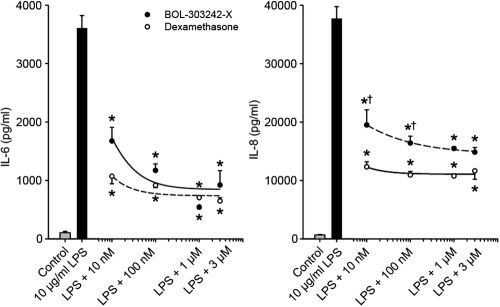 BOL-303242-X demonstrates similar activity as triamcinolone acetonide (TA) in reducing LPS-induced cytokine release in human optic nerve astrocytes. Cells were pretreated with BOL-303242-X or TA for 2 h, and then further treated with vehicle (0.1% DMSO), LPS, BOL-303242-X, TA, or combinations of them at the indicated doses for 18 h. Cytokine content in the conditioned media was determined by Luminex. Data are means±SEM; n=3. The asterisk indicates a p≤0.05 versus LPS. The dagger indicates a p≤0.05 versus TA at the same concentration. Statistical analysis was performed using two-way ANOVA followed by the Tukey-Kramer test on raw data. A Student's t-test was used to determine whether LPS was effective at increasing cytokine release. The solid bar is statistically significant versus the gray bar.