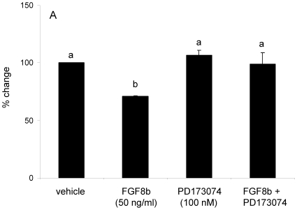 Effects of FGF8b on GnRH promoter activity. Transient transfection of GT1-7 cells with 0.15 µg/well of mouse full-length GnRH-luciferase reporter construct. Following transfection, cells were treated with vehicle, FGF8b (50 ng/ml), PD173074 (100 nM), or FGF8b + PD173074 for 8 hours. Data are represented as mean percent change in RLU's from vehicle-treated controls ± SEM. Dissimilar letters indicate statistically significant difference among groups, P