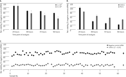 Determination of optimal assay conditions. In three independent experiments, HUVEC cells were transfected with 20 pmol SMARTpool® siRNA targeting PLK-1 (A, B) or CHEK-1 (B, C) and siGENOME® non-targeting control. Cell viability was analyzed at different time points post Nucleofection® (A/B: 24, 48, 72 and 96 hrs; C: 72 hrs). Values were normalized to the negative control samples (A, B) or to untreated cells (C). The rightmost dots in C represents the mean and SD of the 60 individual values.