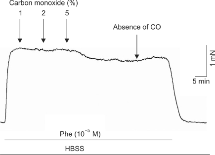 Effect of different carbon monoxide (CO) concentrations (1%, 2%, and 5%) on relaxation in Phe-precontracted corpus cavernosum smooth muscle before exposure to electrical field stimulation. HBSS: Hank's balanced salt solution.