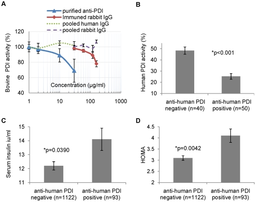 Functional effect of <t>anti-PDI</t> antibodies on PDI activity and association of anti-PDI status with insulin resistance. ( A ) Effects of purified anti-PDI antibodies on purified bovine PDI activity. Purified Bovine PDI activity was measured in the presence of 0–60 µg/ml purified anti- bovine PDI from anti-PDI positive subjects (triangles) and 0–160 µg/ml total <t>IgG</t> from rabbit immuned against bovine PDI (diamonds). Pooled human and rabbit IgG (dashed lines) were used as control. Results are compared to activity in the presence of same volume of PBS (defined as 100%) and presented as a mean ± SEM of three experiments. PDI activity was measured using the insulin transhydrogenase assay. ( B ) Effects of human sera (1∶50) on human recombinant PDI activity. Recombinant human PDI activity was measured in the presence of 20 µl/ml human sera positive or negative for anti-human PDI antibody. Results are presented as mean ± SEM. ( C ) Association of anti- human PDI status with serum insulin levels. Results are presented as mean ± SEM, adjusted for age, gender, education, BMI and smoking. ( D ) Association of anti-human PDI status with insulin resistance. Insulin resistance was estimated using HOMA (Homeostatic Model Assessment of insulin resistance). Results are presented as mean ± SEM, adjusted for age, gender, education, BMI and smoking. For details, see Table S2 .
