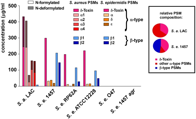 PSM concentrations in S. epidermidis culture filtrates. PSM concentrations in 18-h S. epidermidis and S. aureus LAC culture filtrates were determined by HPLC/MS. Peaks corresponding to N-formylated and deformylated PSM versions were measured separately and the percentage of deformylated peptides is shown as checkered bars. No PSMs were detected in the natural and constructed agr mutants (O47, 1457 agr ). Relative PSM composition (α-type, δ-toxin, β-type) is shown at the right for S. aureus LAC and S. epidermidis 1457. Relative compositions were similar to that of 1457 in the other S. epidermidis strains (except in agr -negative O47 and 1457 agr ).