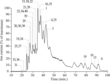 Reverse-phase HPLC trace showing the separation of the subunits of complex I from P. pastoris . Proteins were eluted from a reverse-phase HPLC column, at 50 μl min −1 , in a 100-min linear gradient of 0-70% propan-2-ol and 15-20% trifluoroethanol, in 1% hexafluoroisopropanol and 50 m m ammonium formate (pH 3.1). The eluant was analyzed by an online ESI mass spectrometer (see Experimental Methods), so the elution trace is described by the total ion current. The labels denote detected molecular masses that could be assigned to subunits of P. pastoris complex I; the numbers refer to the subunits as listed in Table II .