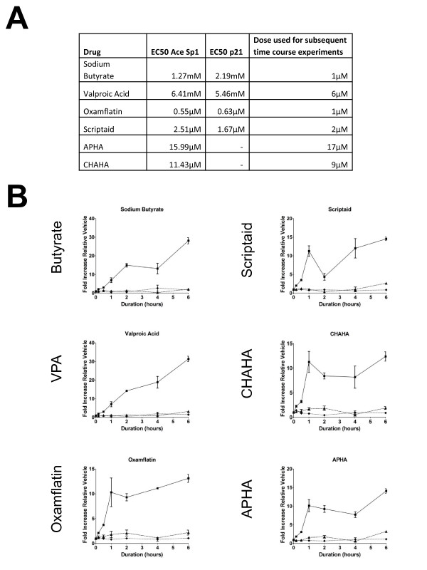 Acetylation of Sp1 precedes p21 up-regulation in response to all HDACi . Panel A shows EC 50 values calculated from the concentration-response data shown in Fig 2, for each of Sp1 acetylation and p21 upregulation. There was generally close agreement between these values. The third column indicates the concentration used in subsequent timecourse experiments. Panel B shows timecourse experiments. HCT116 cells were treated with concentrations of HDACi as indicated in panel A, for times from 0 to 6 h. Timepoints less that 1 h are 10 min and 30 min. Cells were fixed and stained for acetyl-Sp1 and for p21 as before. Fluorescences were quantitated using high content approaches. Graphs are for acetyl-Sp1 (filled squares) p21 (filled triangles) and total Sp1 (filled diamonds). The results show the means of three repeat experiments with internal triplicates.