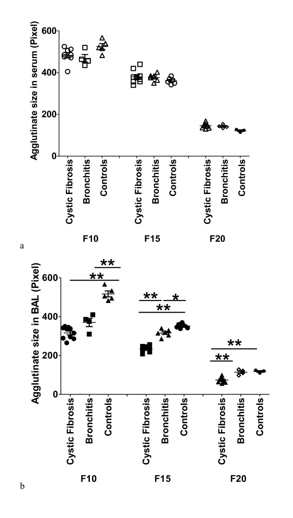 SP-A self-agglutination and fractions . The graphs show the self-agglutination ability (y-axis) of different SP-A structures derived from BAL (b) and serum (a) (x-axis) of the study populations. The streptavidin beads were coupled to biotinylated rabbit anti-goat antibodies which bound goat anti-human SP-A antibodies. These anti-SP-A antibodies bound SP-A at its N-terminal end, so SP-A could self-agglutinate by its CRD. The SP-A amount was adjusted to 1 ng (final concentration 100 ng/ml). All experiments were analyzed by One way ANOVA. * stands for p
