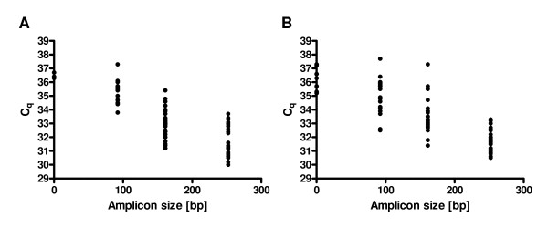 Spearman correlation between fragment size in the multiplex endpoint RT-PCR assay and the appropriate C q value obtained in the RT-qPCR assay . The x-axis shows the fragment size and the y-axis shows the C q value. Panel A corresponds to protocol 1 (P1) and Panel B corresponds to protocol 2 (P2).