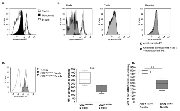 The binding capacity of epratuzumab on different PBMCs obtained from SLE patients . (a) FACS analyses were performed on PBMCs from SLE patients using PE- labeled epratuzumab. Representative histogram of the differential binding of epratuzumab on T-cells (CD3 positive , dotted line), monocytes (CD14 positive , black histogram) and B-cells (CD19 positive , black line). (b) PBMCs were incubated with (grey histogram) or without (black line) unlabelled F(ab') 2 epratuzumab fragment for 10 minutes at 4°C. PBMCs were then stained with PE labeled-epratuzumab, and epratuzumab binding analyzed on B-cells, T-cells and monocytes ( n = 3). Representative histogram of epratuzumab binding on B-cell sub-populations: CD27 negative B-cells (black line), CD27 positive B-cells (grey histogram) and T-cells (negative control, dotted line) are shown in (c) . The results of the FACS analysis (right graph), showed higher binding capacity of epratuzumab on CD27 negative B-cells compare to CD27 positive B-cells ( P = 0.0002). (d) To study the expression of CD22 on B-cells, PBMCs were stained with a mouse anti-CD22 mAb (Clone S-HCL-1), which recognizes a different epitope than epratuzumab ( n = 5) [ 16 ]. The FACS analysis demonstrated that CD22 is more highly expressed on CD27 negative B-cells compared to CD27 positive B-cells.