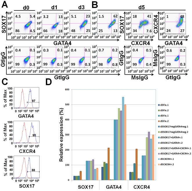 Endodermal subpopulations emerging after activin A treatment using tfFACS. ( A ) A representative experiment using two-channel FACS analysis of <t>GATA4</t> and SOX17. Compared with the isotype negative control (bottom panels), three distinct cellular populations: SOX17 + GATA4 − , SOX17 + GATA4 + , and SOX17 − GATA4 + are emerging gradually upon differentiation: at day 1, 13% are SOX17 + GATA4 + , increasing to 23% by day 3. Another significant population consists of 18% SOX17 − GATA4 + at day 1 and 25% at day 3. ( B ) After 5 days of differentiation, using three-way multichannel FACS analysis for SOX17, GATA4, and CXCR4, we found that the SOX17 + GATA4 + population dominates the culture (62%) and CXCR4 is expressed in 49% of the cells, most of which are SOX17 + GATA4 + CXCR4 + (41%). There are also approximately 27% GATA4 + CXCR4 − cells, which comprises the population of SOX17 + GATA4 + CXCR4 − cells (21%). ( C ) Post sorting, FACS analysis demonstrated that 97% of day 5 SOX17 + GATA4 + CXCR4 + cells were positive for GATA4, 88% were SOX17 positive, and 95% were CXCR4 positive. This was consistent over 5 separate experiments. ( D ) Expression analysis using RT-qPCR demonstrates that day 5 SOX17 + GATA4 + CXCR4 + and day3 SOX17 + GATA4 + cells have higher level of expression of SOX17, GATA4 and CXCR4 than unsorted fixed cells or day 3 SOX17 − GATA4 − (d3SOX17negGATA4neg) cells.