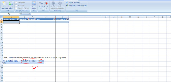 Microsoft Excel plug-in for Pivot collections . Screenshot showing a new spreadsheet for Pivot collection tool using the free Excel add-in for Pivot collections from Microsoft [ 34 ].