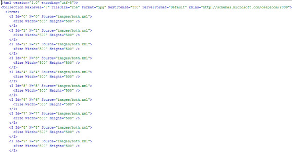 A snippet from the collection.xml file used in the authors' Microsoft Pivot WHO mortality data demonstration . The complete collection.xml file used in this demonstration can be found in the 'Additional file 1 ' archive.