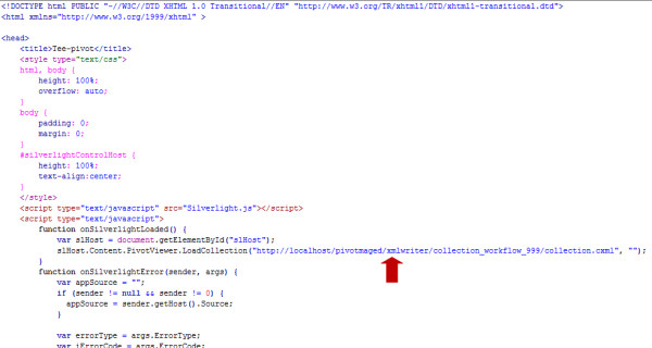 A snippet from the collection.html file used in the authors' Microsoft Pivot WHO mortality data demonstration . The URL (Universal Resource Locator) of the associated collection.cxml file is marked by a red arrow. The complete collection.html file used in this demonstration can be found in the 'Additional file 1 ' archive.