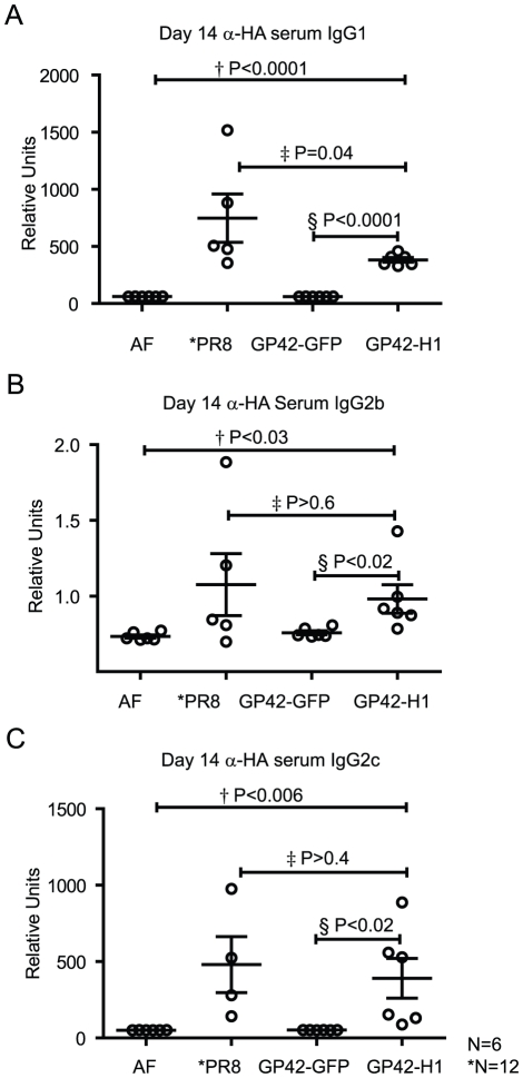 GP42-H1 induces HA-specific antibodies in sera. Mice were administered AF, 1LD 50 PR/8 or 10 3 pfu of either GP42-GFP (vector control) or GP42-H1. Blood was collected 14 days after infection and sera were assayed by ELISA for A) PR/8-specific IgG1 B) PR/8-specific IgG2b and C) PR/8-specific IgG2c antibodies. Student's T tests were performed between each group (n = 6 for all groups except the PR/8 group where n = 12). The P values between each group are indicated. Experiments were repeated 2 times with similar results.