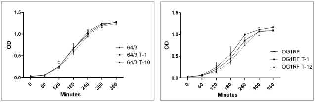 Comparative in vitro growth of E. faecium (left) and E. faecalis (right) recipient and transconjugant strains. 64/3 and OG1RF are the recipient strains. 64/3 T-1 * (64/3xUW3114 T-1) and OG1RF T-1 * (OG1RFxUW3114 T-1) are transconjugants that acquired the erm (B) plasmid pLG2 but lack the PAI. Strains 64/3 T-10 (64/3xUW3114 T-10) and OG1RF T-12 (OG1RFxUW3114 T-12) are the transconjugants that carry pLG2 and the E. faecalis PAI; comparisson of their growth to that of the corresponding recipient strains indicated no significant differences both in E. faecium (p = 0.9909) as in E. faecalis (p = 0.9329). Error bars denote standard deviation. Each experiment was repeated three times.