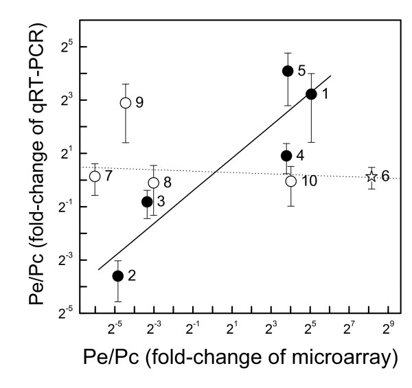 Correlation of qRT-PCR expression data and microarray signal ratios . Data show means (SE) for qRT-PCR expression ratios and for signal ratios of microarray data for P. euphratica/P . × canescens . Transcripts with probe set SDs in the upper 5% quantile are indicated by open symbols, those with lower probe set SDs by black symbols. Star: outlier. The outlier has an SD in the 9% range, which is close to the chosen threshold of 5%. The following genes were included (putative function, Affymetrix probe set ID, JGI gene model for analyzed genes): 1, Gibberellin regulated protein, Ptp.6252.1.S1_a_at, estExt_Genewise1_v1.C_LG_V1745; 2, MADS-Box protein, Ptp.5993.1.S1_a_at, eugene3.00150771; 3, Mitochondrial carrier protein, Ptp.5103.1.S1_at, grail3.0008039502; 4, Lil3 protein, Ptp.4571.1.S1_at, eugene3.01180096; 5, Aquaporin, Ptp.5700.1.S1_s_at, eugene3.00280238; 6, GTP-binding protein, PtpAffx.25286.1.S1_at, estExt_fgenesh4_pg.C_LG_I1368; 7, Nitrogen fixation protein, PtpAffx.1459.1.A1_s_at, estExt_fgenesh4_pm.C_LG_XII0286; 8, Ubiquitin-like protein, PtpAffx.157059.1.S1_s_at, estExt_fgenesh4_pg.C_LG_XIV1291; 9, 1-Aminocyclopropane-1-carboxylate oxidase, Ptp.5158.1.S1_at, estExt_Genewise1_v1.C_1660131; 10, Glycine dehydrogenase, PtpAffx.19705.1.A1_at, estExt_fgenesh4_pm.C_LG_VI0678.