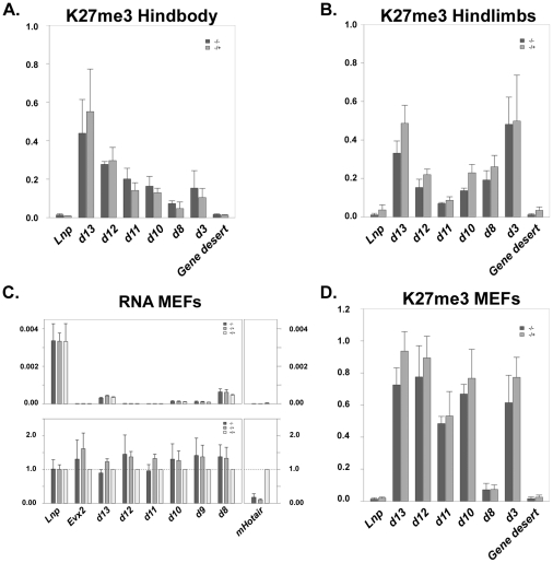 ChIP and expression profiling of control and Hoxc −/− MEFs. Enrichment of tri-methylated H3K27 over the HoxD gene cluster in both control mice and mice carrying a deletion of the HoxC cluster. The presence of this histone modification is assayed by qPCR after chromatin immunoprecipitation, either from dissected fetal hindbody (A) or from fetal hindlimbs at E13.5 (B). (C) Quantification of Hoxd gene transcripts present in either control, or HoxC mutant mouse embryonic fibroblasts (MEFs). (D) Comparison of H3K27me3 coverage between control and HoxC mutant-derived MEFs.