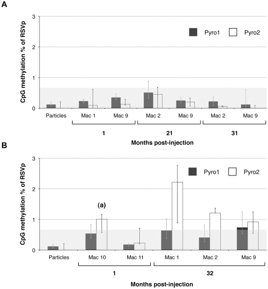 CpG methylation percentage of the RSVp after rAAV administration in NHP determined by high-throughput sequencing. NHP were injected IM (Mac 1, Mac 2, and Mac 9) or IV (Mac 10 and Mac 11) with the rAAV2/1-RSV-LEA29Y-WPRE-pA vector. Each animal received a dose of 5.10 12 vg/kg. Total DNA was extracted from transduced skeletal muscle (A) and liver (B) and subjected to a sodium bisulfite conversion and subsequent PCR amplification. 454 sequencing was performed to evaluate the Pyro1- and Pyro2-region methylation. (a) Bioinformatic analysis of this sample revealed some sequences for which all the CpGs were methylated. ( *** ) p value
