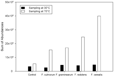 Temperature-dependency of abundancies. Comparison of total volatile abundances of four Fusaria species and controls as obtained from the GC/MS measurements taken at two different sampling temperatures.