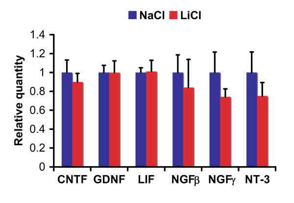 Lithium had no significant effect on RNA expression of neurotrophic factors CNTF, GDNF, LIF, NGFβ, NGFγ and NT-3 in rat primary neural precursor cells . Rat primary neural precursor cells were treated with 3 mM LiCl or control NaCl for 3 days. Then the cells were lysed for RNA extraction and subsequent quantitative real time PCR analysis. RNA levels of neurotrophic factors were normalized to peptidylprolyl isomerase A (Ppia). The data represent mean ± standard error. *: Bonferroni/Dunn, P