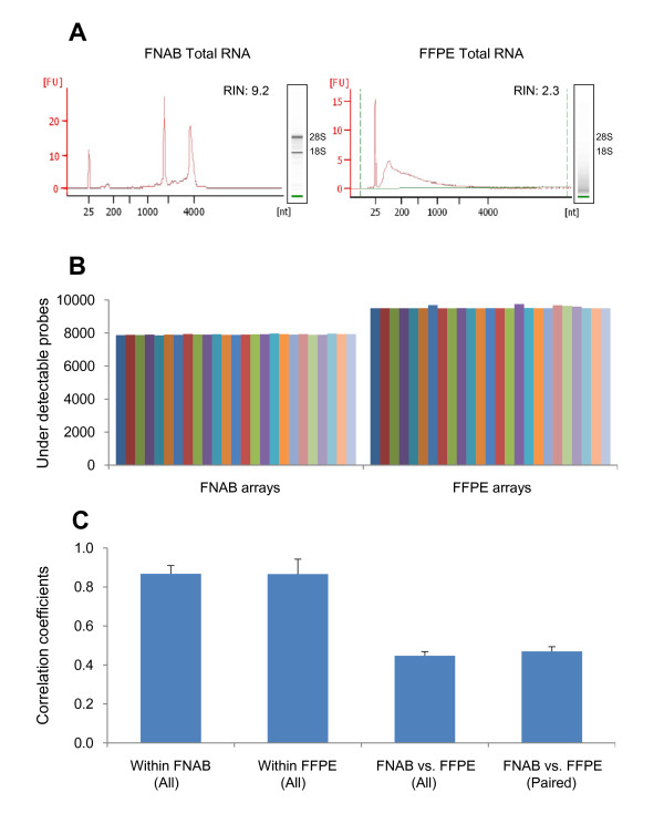 Comparison of total RNA and microarray signals between FNAB and FFPE specimens . (A) Comparison of Agilent 2100 Bioanalyzer analysis of total RNA between FNAB and FFPE from a breast cancer sample E(+)H(-)-2. (B) Noise levels of the microarray signals. The average numbers of under-detectable probes from Illumina Human-Ref8 24 K BeadChip are 7906.8 ± 27.9 in 25 FNAB arrays and 9531.4 ± 74.3 in 25 FFPE arrays, respectively. (C) Reproducibility of microarray signal. The averages of Correlation Coefficients are 0.87 ± 0.04 within 25 FNAB arrays, 0.87 ± 0.08 within 25 FFPE arrays, 0.45 ± 0.02 between the 25 FNAB arrays and 25 FFPE arrays, and 0.47 ± 0.02 between the 25 paired FNAB and FFPE arrays, respectively.