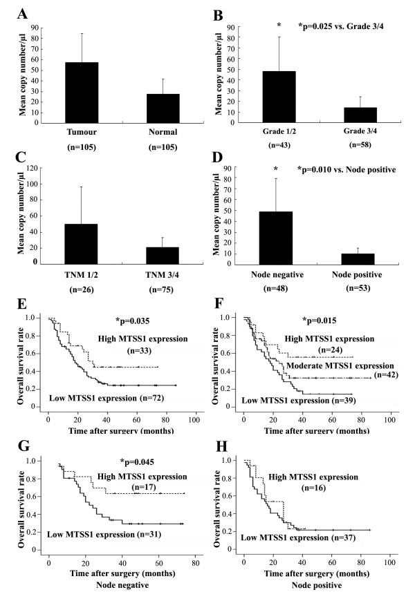 Quantitative PCR analysis of MTSS1 expression in human oesophageal tissues . (A) Tumour versus normal background tissues; (B) Tumour grade; (C) Tumour-node-metastasis classification; (D) Node status; (E) A two-way division of the patients based on the expression levels of MTSS1 yield a significant correlation with overall survival; (F) A three-way division of the patients based on the expression levels of MTSS1 yield a significant correlation with overall survival; (G) Overall survival analysis in node negative patients; (H) Overall survival analysis in node positive patient.