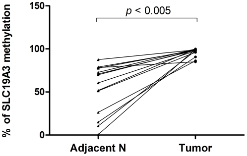 Increased percentage of SLC19A3 DNA methylation in primary breast cancer tissues. Percentage of SLC19A3 promoter methylation between tumor tissues and their paired adjacent non-tumor breast tissues from the 15 breast cancer patients by MS-qPCR. Percentage of methylation in tissue samples was calculated by the following equation: % meth = 100/[1+2 ΔCt(meth-unmeth) ]%. ΔCt (meth-unmeth) was calculated by subtracting the Ct values of methylated SLC19A3 signal from the Ct values of umnethylated SLC19A3 signal. Statistical difference was analyzed by Wilcoxon test, P